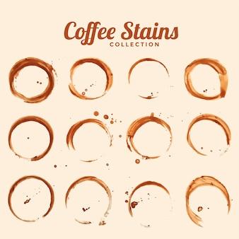 Zestaw tekstur plam szkła kawy dwunastu