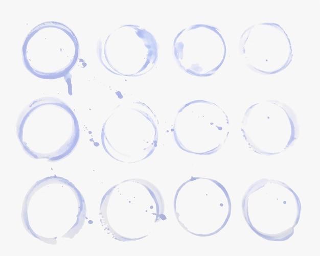 Zestaw tekstur plam ze szkła wodnego lub kubka