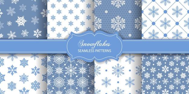 Zestaw tekstur z kolekcją płatków śniegu bez szwu wzorów świątecznych lub zimowych