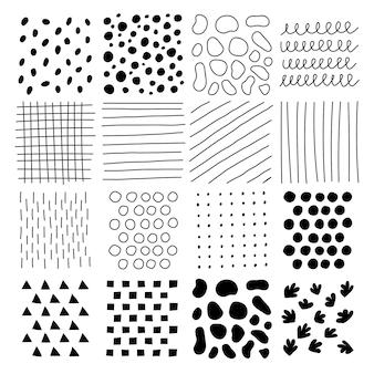 Zestaw tekstur z różnych kształtów do dekoracji. wektor premium