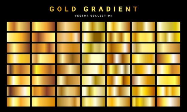 Zestaw tekstura tło złota folia. szablon gradientu złoty, miedziany, mosiężny i metalowy. ilustracja.