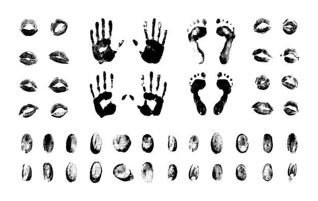 Zestaw teksturowanych odcisków palców