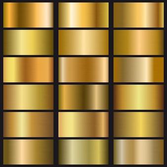 Zestaw tekstury gradientu złota.