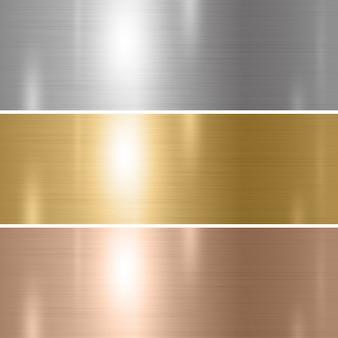 Zestaw tekstury metalu srebrny złoty miedziany
