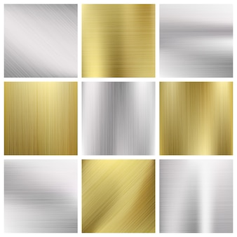 Zestaw tekstury metalu wektor