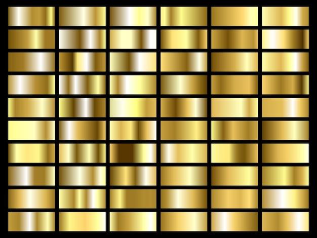 Zestaw tekstury złotej folii. złoty i metalowy szablon gradientu.