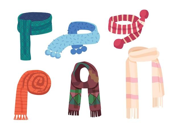 Zestaw tekstylnych i dzianinowych szalików o różnych wzorach i kolorach. kolorowe chusteczki na białym tle. szale, dodatki na chłodne dni, modne ubrania. ilustracja kreskówka wektor