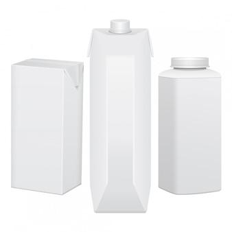 Zestaw tekturowych opakowań na napoje, soki, mleko lub jogurt