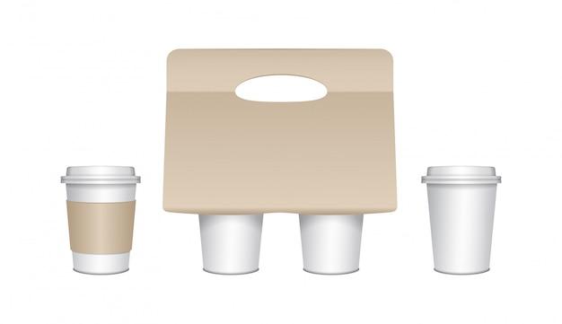 Zestaw tekturowych pojemników na kawę z papierowymi kubkami i plastikowymi nasadkami. uchwyt na papier. tekturowy uchwyt na kubek do kawy na wynos