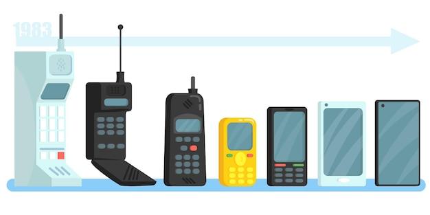 Zestaw telefonów komórkowych różnych generacji