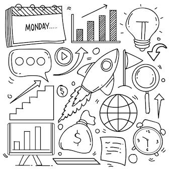 Zestaw tematu biznesowego w stylu bazgroły na białym tle, wektor ręcznie rysowane zestaw tematu biznesowego. ilustracja wektorowa