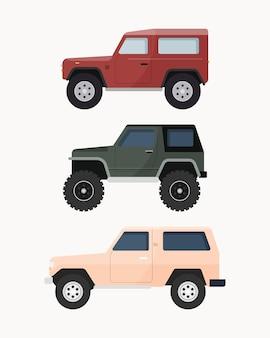 Zestaw terenowego samochodu suv. pojazdy terenowe.
