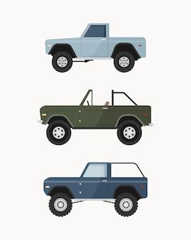 Zestaw terenowego samochodu suv. pojazdy terenowe