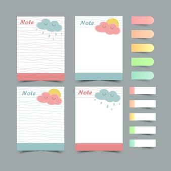 Zestaw terminarzy i list do zrobienia. planery, sprawdź listy. karteczkę. na białym tle. ilustracja.