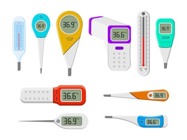Zestaw termometrów medycznych do szpitala podczas koronawirusa. zestaw narzędzi do pomiaru ciepła ludzkiego ciała w płaskiej stylistyce. elektroniczny termometr do pomiaru temperatury otoczenia.