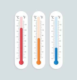 Zestaw termometrów w płaskiej konstrukcji.