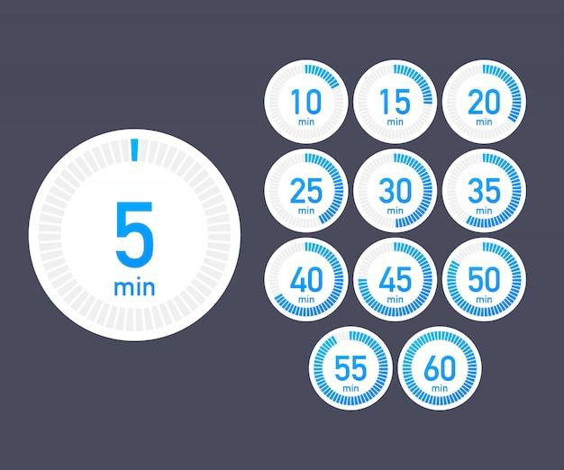 Zestaw timerów. ikona znaku. zegar ze strzałką pełnego obrotu. kolorowe ikony płaskie. zestaw 12 ikon timera. płaska konstrukcja