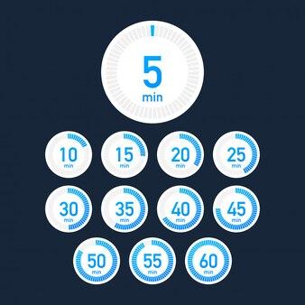Zestaw timerów. ikona znaku. zegar ze strzałką pełnego obrotu.