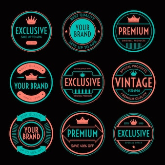 Zestaw tkaniny i etykiety retro vintage