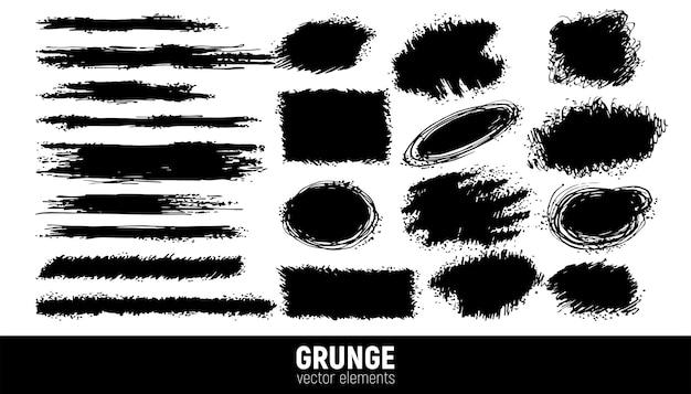Zestaw tła grunge. wektor pociągnięcia pędzlem. obszar na tekst