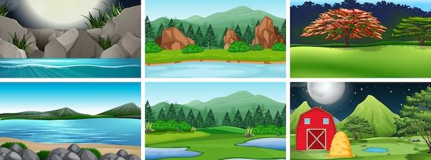 Zestaw tła krajobrazów wiejskich