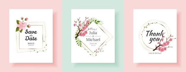 Zestaw tła kwiaty sakura. projekt szablonu zaproszenia ślubne kwiatowy. zaproszenie na wakacje, kartki z życzeniami i projektowanie mody
