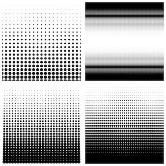 Zestaw tła półtonów. kropki rastra. czarne kropki na białym tle. ilustracja.