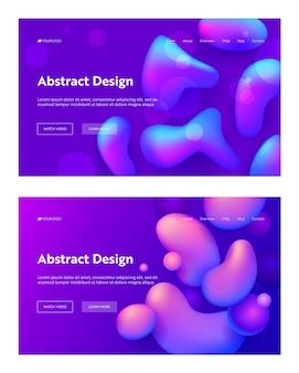 Zestaw tła strony docelowej fioletowy streszczenie realistyczny kształt kropli. futurystyczny cyfrowy 3d wzór gradientu.