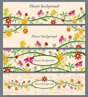 Zestaw tła transparent kwiatowy