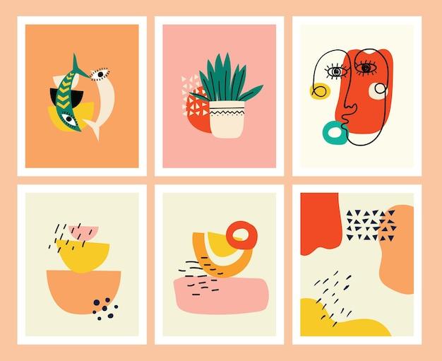Zestaw tła z ręcznie rysowane różne kształty i doodle obiektów. streszczenie współczesnej nowoczesnej modnej ilustracji wektorowych.