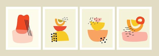 Zestaw tła z ręcznie rysowanymi kształtami i obiektami doodle abstrakcyjne współczesne nowoczesne modne vec...