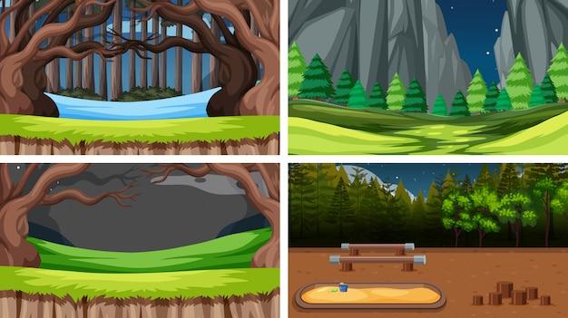 Zestaw tle krajobrazu przyrody