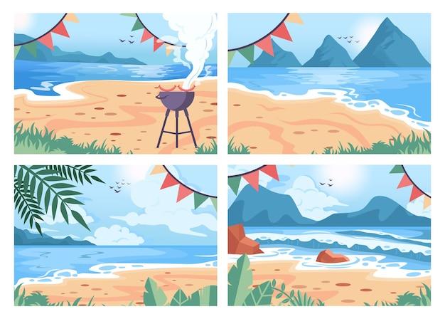 Zestaw tło strony plaży. letnie wakacje i wakacje