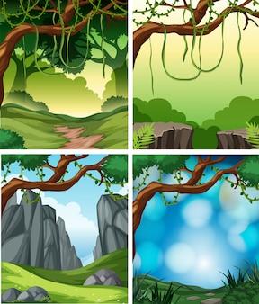 Zestaw tło tropikalnych lasów deszczowych