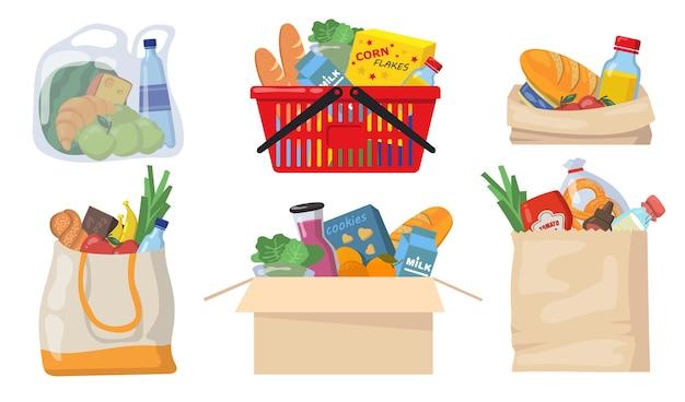Zestaw toreb na zakupy. opakowania plastikowe i papierowe, kosz supermarketowy z opakowaniami na żywność, puszki, pieczywo, produkty mleczne. płaskie ilustracje wektorowe na zakupy, dostawa żywności, koncepcja charytatywna.
