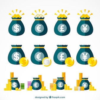 Zestaw toreb z symbolami waluty
