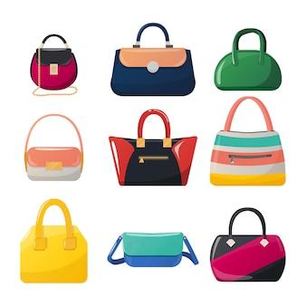 Zestaw torebek kobiet na białym tle. ikony toreb damskich. torby moda i glamour.