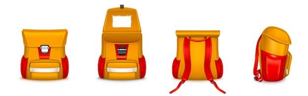 Zestaw tornister lub plecak dla dzieci na białym tle.