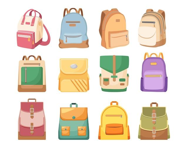 Zestaw tornistrów, tornistrów dla dzieci w jasnych kolorach, plecaków i plecaków. plecaki studenckie z nosidłami, ikony