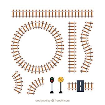 Zestaw torów kolejowych i znaków