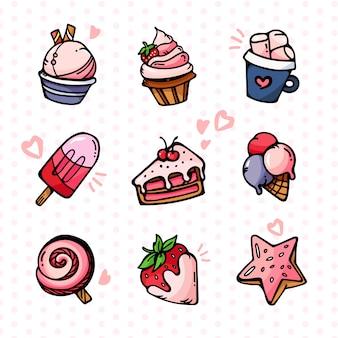 Zestaw tortów kolorowe smaczne desery