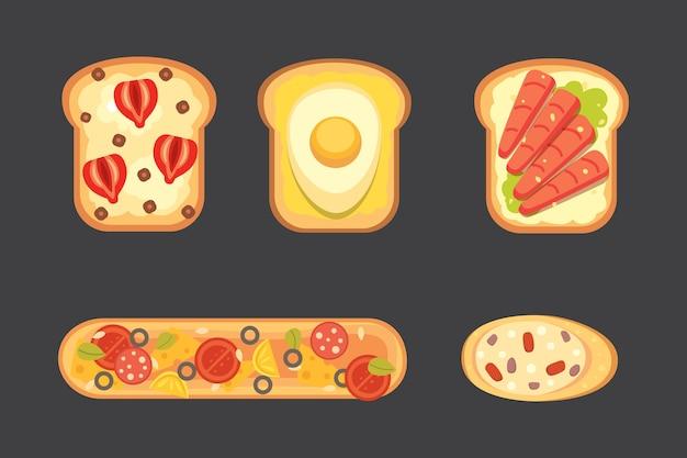 Zestaw tostów i kanapki śniadaniowe. tost chlebowy z dżemem, jajkiem, serem, jagodami, masłem orzechowym, salami i rybą. ilustracja.