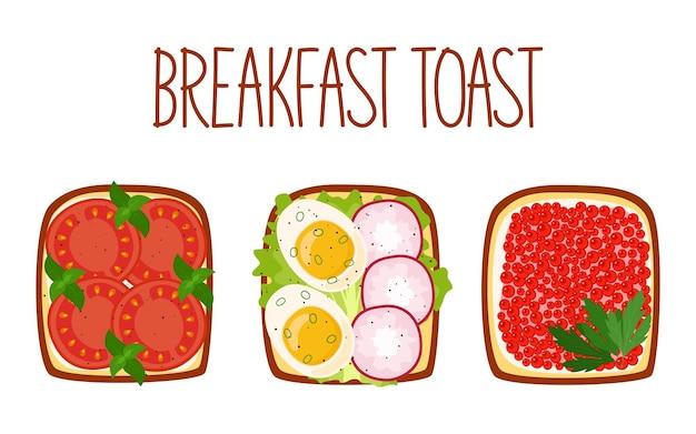 Zestaw tostów śniadaniowych z różnymi nadzieniami. grzanki z pomidorami, gotowanym jajkiem i rzodkiewką, kawiorem i zieleniną. ilustracja wektorowa
