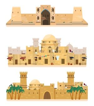 Zestaw tradycyjnej architektury. karawanseraj, starożytna wioska, zamek. budynki z cegły mułowej.