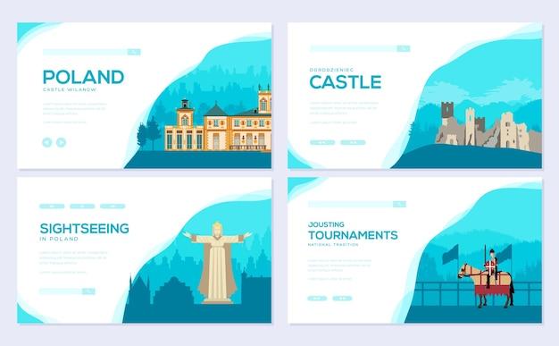 Zestaw tradycyjnych broszur turystycznych. szablon ulotki, baneru internetowego, nagłówka interfejsu użytkownika, wprowadź witrynę.