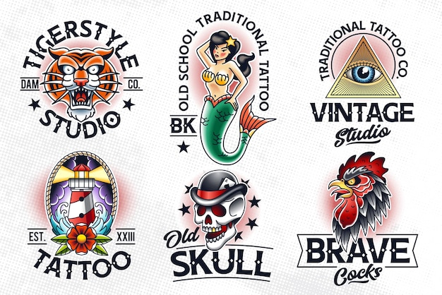 Zestaw tradycyjnych emblematów w stylu tatuażu. szablony logo tatuaż starej szkoły.