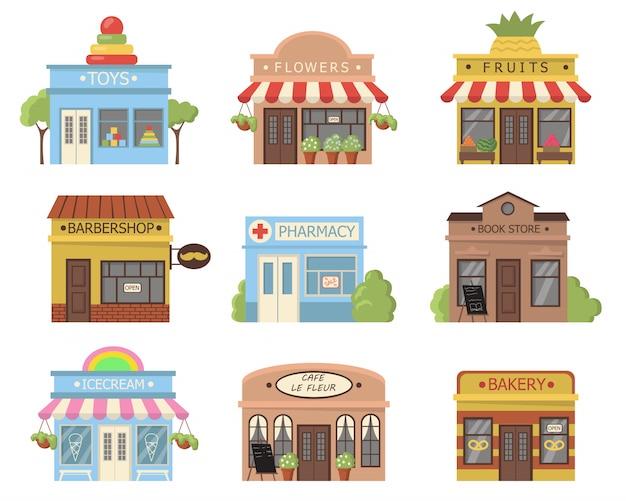 Zestaw tradycyjnych fasad sklepów
