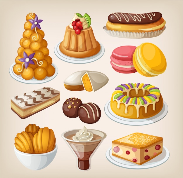 Zestaw tradycyjnych francuskich deserów. pojedyncze ilustracje