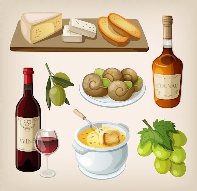 Zestaw tradycyjnych francuskich napojów i przekąsek. pojedyncze ilustracje