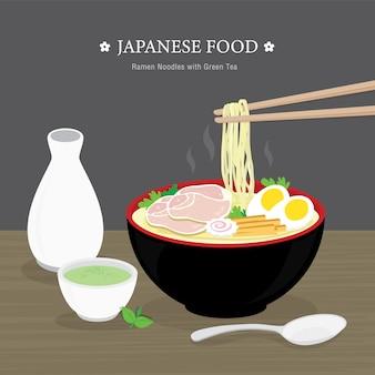 Zestaw tradycyjnych japońskich potraw, makaron ramen z zieloną herbatą. ilustracja kreskówka